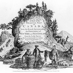 Black and white illustration of two Europeans trading with two Natives near the foot of a mountain, next to a natural stream.