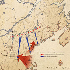 Colour map of southeastern Quebec. Red arrows show territorial conquests, blue arrows show Abenaki raids.