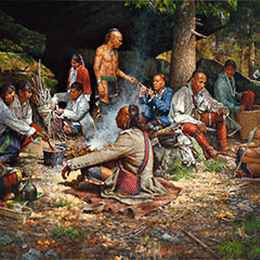 Painting of a trading post and a meal preparation. Aboriginal people are sitting around a fire.