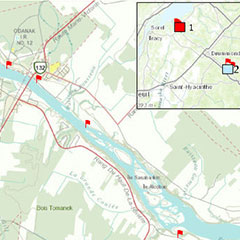 Colour map of the Saint-François River and the surrounding villages. Red flags indicate the archaeological sites.