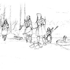 Black and white illustration of six Abenaki hunting and fishing with nets.