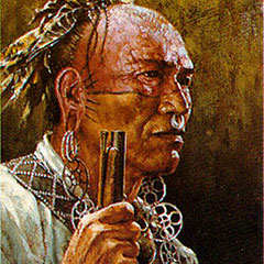 Color illustration of the face and the hand of an algonquian warrior. Half of the warrior's face is tattooed and painted in red. He is wearing several metal ornaments.