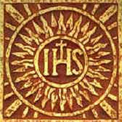 Color illustration of the Society of Jesus, the Jesuits, consisting of a central sun with the IHS letters.