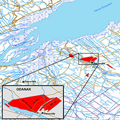 Colour map of the current limits of the Odanak community identified in red. The St. Lawrence River is also visible.