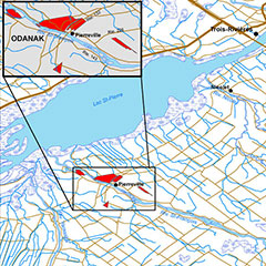 Colour map of Odanak and Wôlinak communities, identified in red and their respective limits. Lake St. Pierre is also visible.